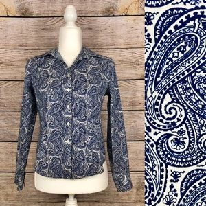Talbots Navy & Off White Paisley Button-up Shirt